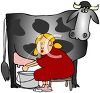 Milkmaid Milking a Cow and Squirting Herself in the Eye clipart
