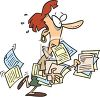 Cartoon of a Frazzled Woman Carrying a Bunch of Forms clipart