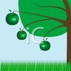 Green Apples on a Tree with Grass clipart