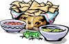 Crisp Tortilla Chips and Salsa with Guacamole clipart