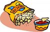 Bag of Nacho Tortilla Chips and Salsa clipart
