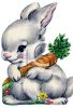 Vintage Easter Bunny Holding a Carrot clipart