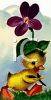 Vintage Easter Duckling Under a Flower clipart