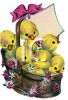 Vintage Easter Ducklings in a Basket clipart
