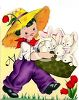 Vintage Boy Carrying Easter Bunnies in a Basket clipart