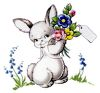 Vintage Easter Bunny Holding a Bouquet of Flowers clipart