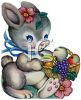 Vintage Easter Bunny Holding a Basket of Fruit clipart