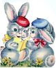 Vintage Easter Bunnies Reading a Card clipart