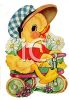 Vintage Duckling Riding a Bike clipart