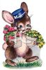 Vintage Easter Bunny Carrying Potted Flowers clipart