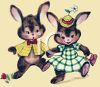 Vintage Easter Bunnies Dancing clipart