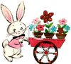 Vintage Easter Bunny Pushing a Flower Cart clipart