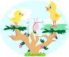 Whimsical Chicks in a Tree clipart