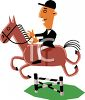 Cartoon of an Equestrian at a Horse Show clipart
