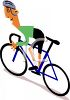 Cartoon of a Bike Racer Going Up a Hill clipart