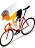 Cartoon of a Bike Racer Going Downhill clipart