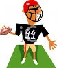 Cartoon of a Guy Playing Football clipart