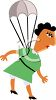 Cartoon of a Woman Parachuting clipart