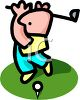 Cartoon of a Bald Guy Teeing Off clipart