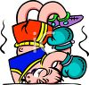 Cartoon of a Boxer Getting Knocked Out clipart