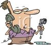 Man on the Phone with a Plumber clipart