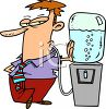 Man Drinking Out of a Water Cooler clipart