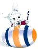 Easter Bunny with Giant Easter Egg and Paintbrush clipart