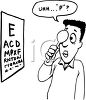 Cartoon of a Guy Reading an Eye Chart clipart