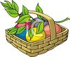 Easter Eggs in a Basket with an Olive Branch clipart