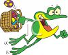 Easter Frog Delivering Easter Eggs clipart