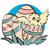 Vintage Chick Hatching from Easter Eggs clipart