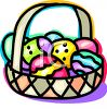 Colorful Eggs in an Easter Basket clipart