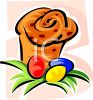 Easter Bread with Dyed Eggs clipart