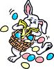 Easter bunny delivering easter eggs clipart