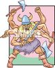 Viking Warrior with Six Arms clipart