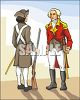 Colonial Solider Facing Off with a Red Coat from the British Army clipart