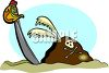 Stone and Sword Marking a Pirate Treasure clipart