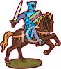 Medieval Knight on His Horse During Battle clipart