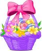 Easter Basket with a Bow clipart