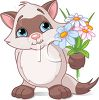 Siamese Kitten Holding a Bouquet of Flowers clipart