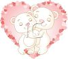 Valentine Background of Bears Hugging in a Heart clipart