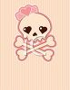 Valentine Background Girl Skull and Crossbones with a Bow clipart