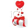 Valentine Background of a Gift with Helium Heart Balloons clipart