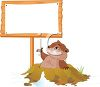 Cartoon Groundhog with a Blank Sign clipart