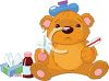 Sick Teddy Bear  clipart