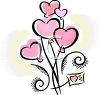 Pretty Pink Hearts in a Bouquet with a Card clipart