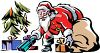 Santa Putting Presents Under the Tree clipart