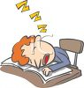 Cartoon of a Boy Sleeping at His Desk clipart
