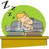 Cartoon of a Man Asleep at His Desk clipart