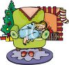 Little Girl Asleep in a Chair on Christmas Eve clipart